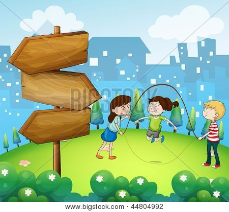 Illustration of the three kids playing in the garden with wooden arrows