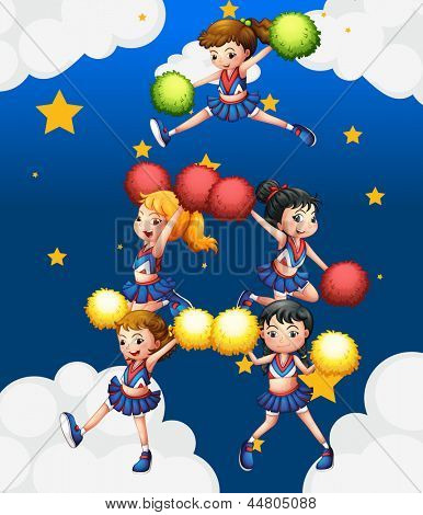 Illustration of the five cheerdancers dancing with their pompoms