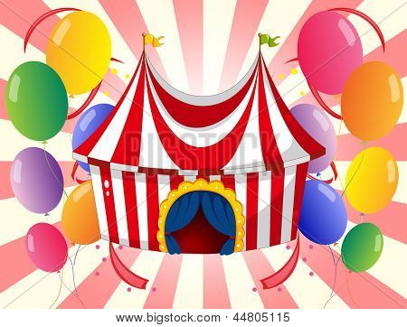 Illustration of a red circus tent with colorful balloons