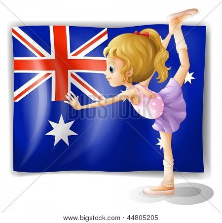 Illustration of a young girl dancing in front of the Australian flag on a white background
