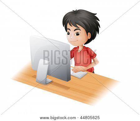 Ilustração de um menino usando o computador em um fundo branco