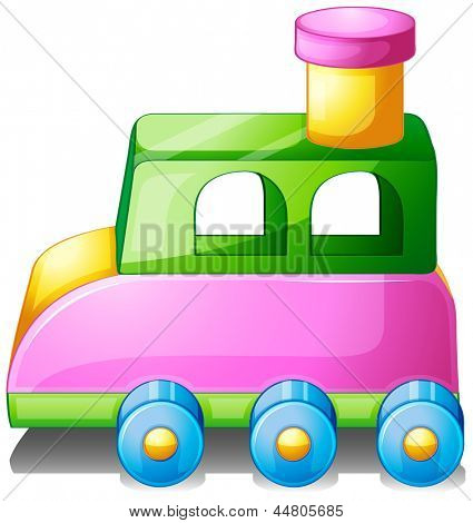 Illustration of a colorful toy car on a white background