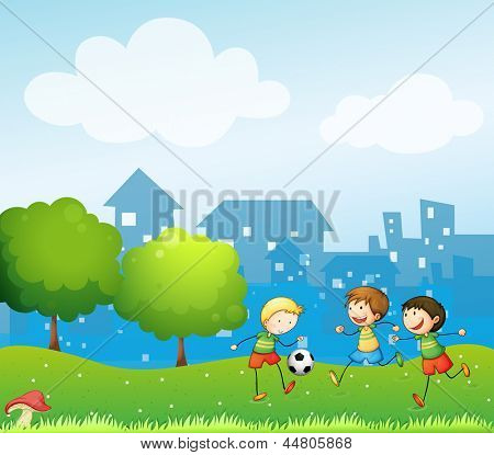 Illustration of the three kids playing soccer in the hill