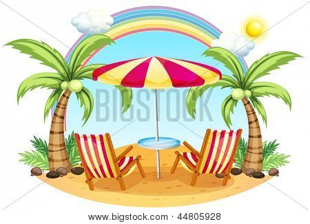 Illustration of a seashore with a beach umbrella and chairs on a white background