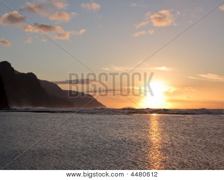 Sunset Over The Ocean On The North Coast Of Kauai
