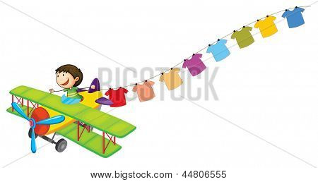 Illustration of a boy in a plane with hanging clothes on a white background