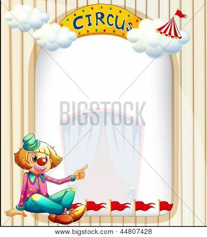 Illustration of an empty template with a clown