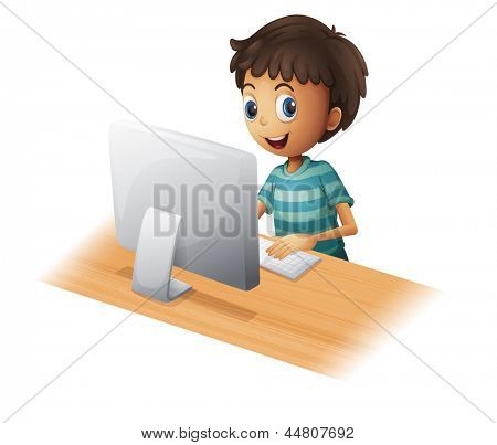 Illustration of a boy playing computer on a white background