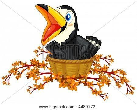 Illustration of a black bird inside the basket on a white background