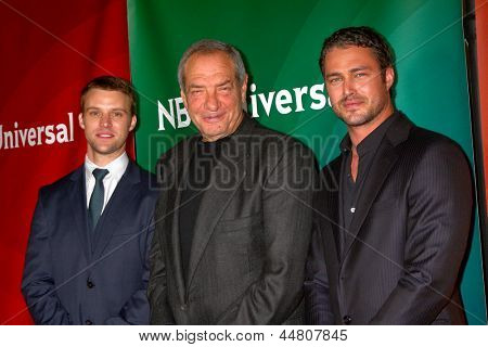LAS VEGAS - APR 22:  Jesse Spencer, Dick Wolf, Taylor Kinney at the NBCUniversal Summer Pres Day 2013 at the Huntington Langham Hotel on April 22, 2013 in Pasadena, NV