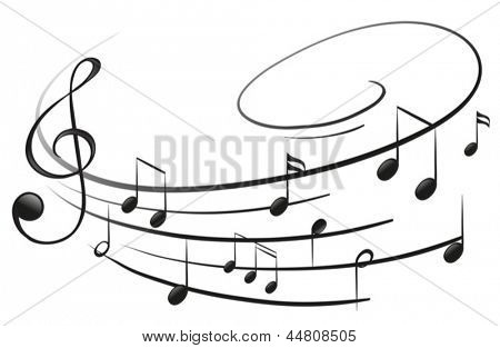Illustration of the musical notes with the G-clef on a white background