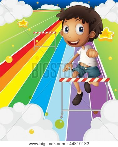 Illustration of a little boy near the stripe hurdle