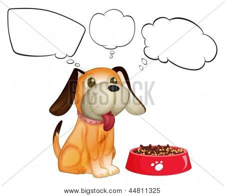 Illustration of a puppy beside his dogfood with empty callouts on a white background