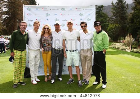 LOS ANGELES - APR 15  John York, Jack Wagner, Ashley Jones, Kyle Lowder, Zack Conroy, Brandon Beemer, Tim Allen at the Wagner Golf Tournament at Lakeside Golf Club on April 15, 2013 in Toluca Lake, CA