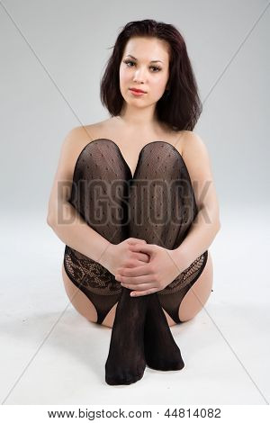 Portrait of a beautiful young woman in sexy lingerie