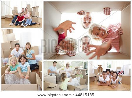 Collage of families at home unpacking cardboard