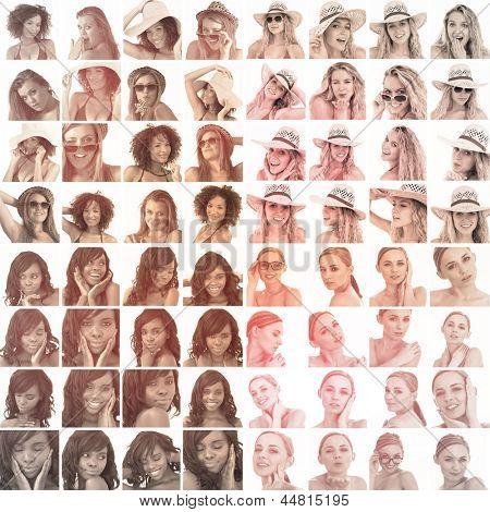 Colagem de fotos diferentes das mulheres em sépia, gesticulando em fundo branco