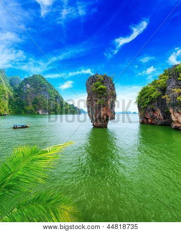 James Bond island Thailand travel destination. Phang Nga bay archipelago