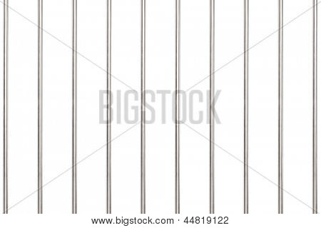 A studio shot of metal bars in prison isolated on white background