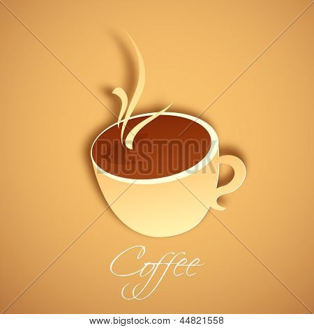 illustration of cup of hot coffee cup in paper cut