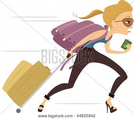 Illustration of a Girl running Late for Flight