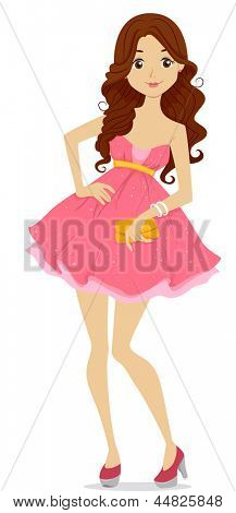 Illustration of a Teenage Girl dressed for Prom