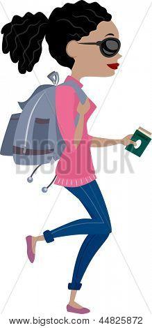 Ilustración que muestra la vista lateral de una chica que viajar con mochila