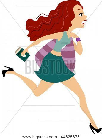 Illustration of a Girl running Late for Flight