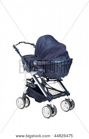 A modern baby stroller isolated against white background