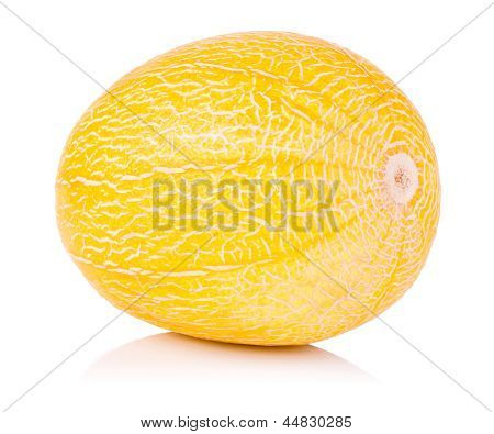 Single Whole Fresh Honeydew Melon Isolated On A White Background
