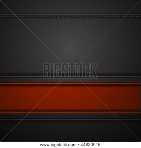 Red leather stripe on black leather background with copyspace  - raster version