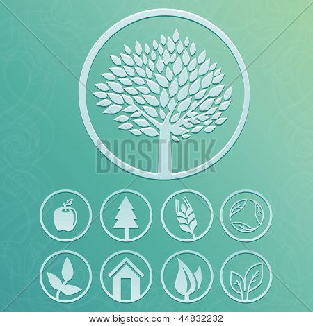 Vector Round Labels With Tree And Nature Icons