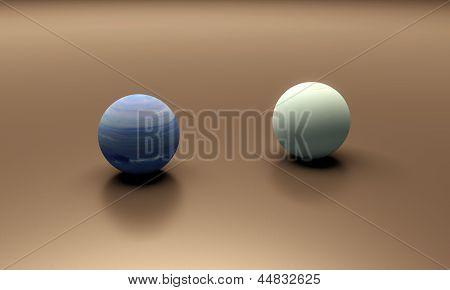 Planets Neptune And Uranus Blank