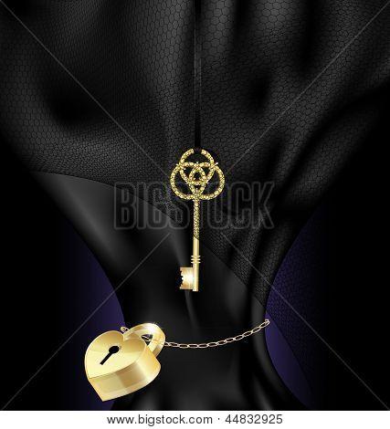 black silk, golden lock and key