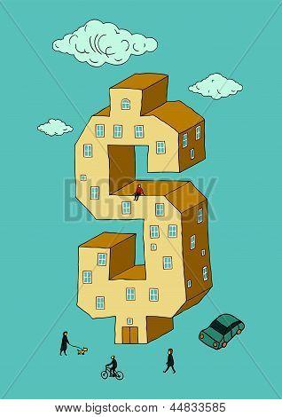 Dólar en forma de edificio (ilustración vectorial)