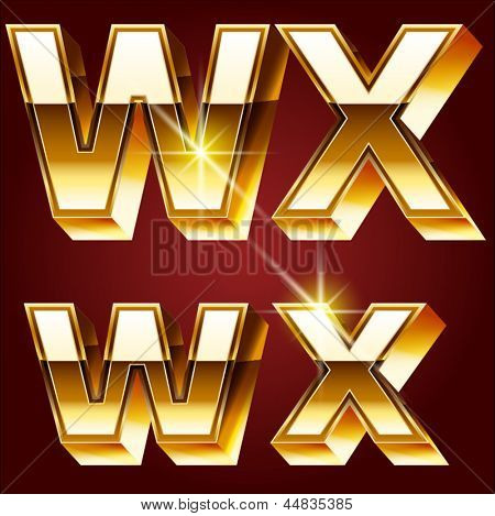 Three-dimensional golden alphabet. Vector illustration of 3d realistic font characters of gold. Letters w x