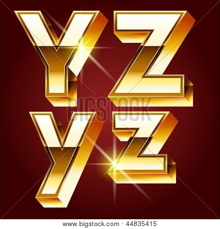 Three-dimensional golden alphabet. Vector illustration of 3d realistic font characters of gold. Letters y z