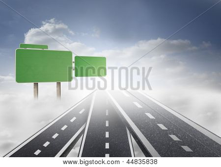 Roads over clouds with empty signposts in blue sky background