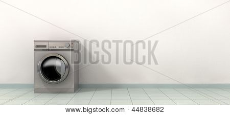 Washing Maching In An Empty Room