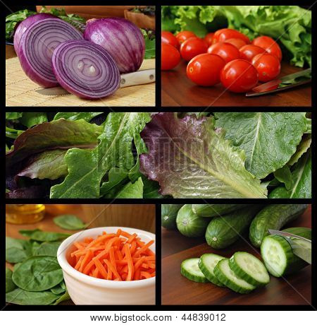 Colorful collage of fresh salad ingredients includes red onions, grape tomatoes, lettuce, baby greens, shredded carrots, spinach and cucumbers.