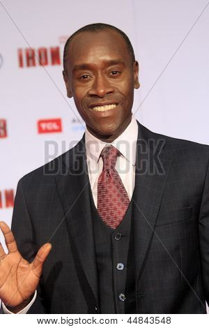 """LOS ANGELES - APR 24:  Don Cheadle arrives at the """"Iron Man 3"""" LA premiere at the El Capitan Theater on April 24, 2013 in Los Angeles, CA"""