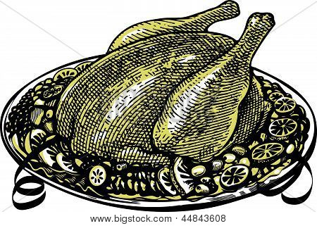Whole Roasted turkey on  decorated platter with garnish