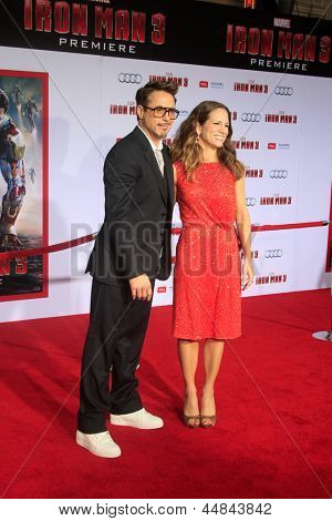 "LOS ANGELES - APR 24:  Robert Downey Jr, Susan Downey arrives at the ""Iron Man 3"" LA premiere at the El Capitan Theater on April 24, 2013 in Los Angeles, CA"
