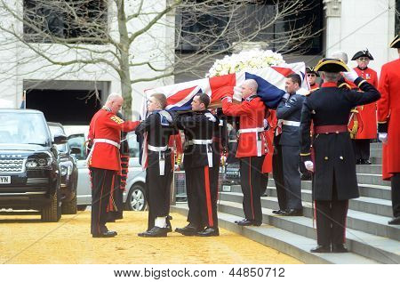 Margret Thatcher's Coffin Departs St Pauls Cathedral After Her Funeral Outside Londons St Pauls 17Th