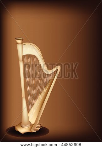 A Beautiful Harp on Dark Brown Background