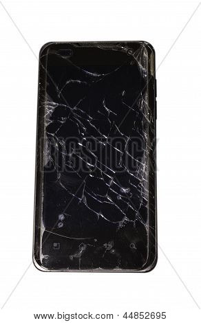 Black Smartphone With Cracked Screen