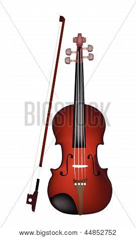 A Beautiful Brown Violin on White Background