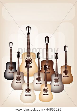 Beautiful Classical Guitars on Beautiful Brown Background