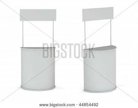 Blank Exhibition Promotion Counters Isolated On White