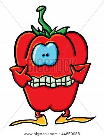 Funny Cartoon Pepper Is Teasing
